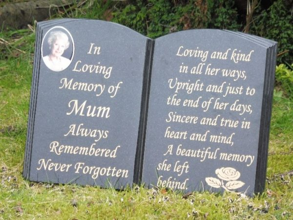 A3 Stand Up Book Shaped Memorial Plaque With Photo