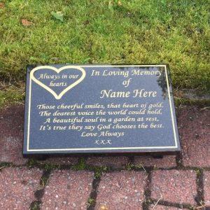A4 Memorial Plaque Heart Design