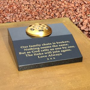 Sloping Wedge Memorial Plaque With Flower Vase Forever Memorials